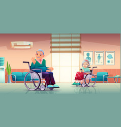 senior disabled man and woman sit on wheelchair vector image