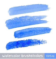 Set of blue watercolor brush strokes vector