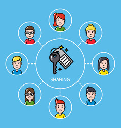 sharing economy concept with group of people vector image