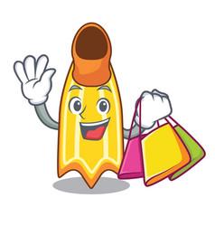 Shopping swim fin character cartoon vector