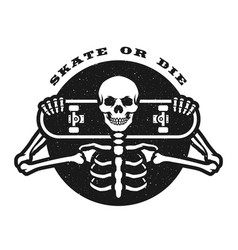 skater skeleton with a board emblem t-shirt vector image