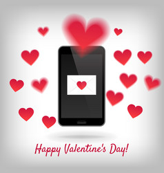 Smartphone with love message vector