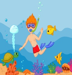 Snorkeling boy cartoon vector image