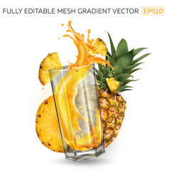 Splash juice in a glass and pineapples on a vector