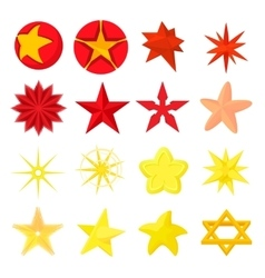 Star icons set cartoon style vector