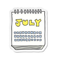 Sticker of a cartoon calendar showing month of vector
