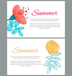 summer set of colorful posters vector image