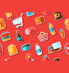 supermarket seamless pattern with food stickers vector image