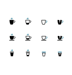 Tea mug and Coffee cup duotone icons vector image