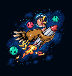 Thanksgiving holiday turkey riding a space rocket vector