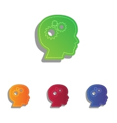 Thinking head sign Colorfull applique icons set vector image