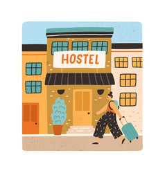 tourist with backpack and suitcase going to hostel vector image