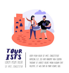 traveling people in trip poster banner brochure vector image