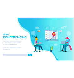 Video conferencing landing page template vector