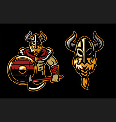 warrior viking mascot posing vector image