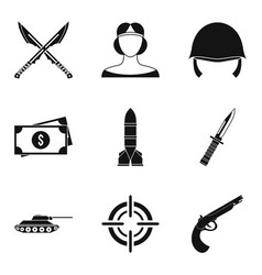 Weaponry icons set simple style vector