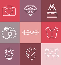 Wedding and engagement line logos and icons vector