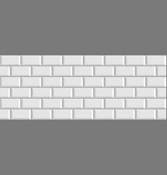 White brick metro ceramic tiles vector