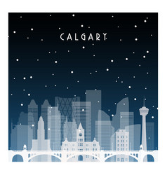 Winter night in calgary night city in flat style vector