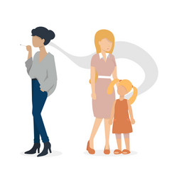 Woman with cigarette and woman with child vector