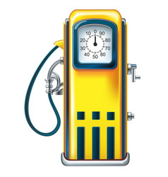 Yellow retro gasoline pump in the old gasoline vector