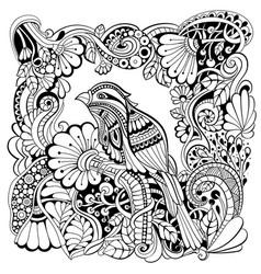 bird in fantasy garden vector image