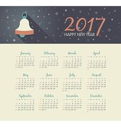Calendar 2017 year with christmas bell vector