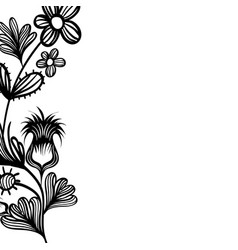 contour natural rustic flowers with petals and vector image