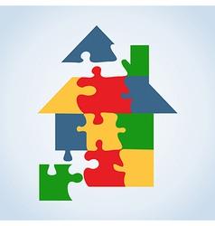 Real estate icon set jigaw shape vector