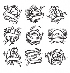 set of different food banners vector image vector image