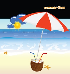 summer time with coconut art vector image vector image