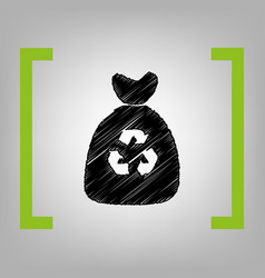 trash bag icon black scribble icon in vector image vector image