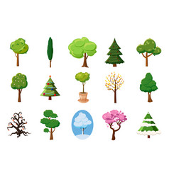 tree icon set cartoon style vector image