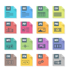 various color file flat style formats icons set vector image vector image