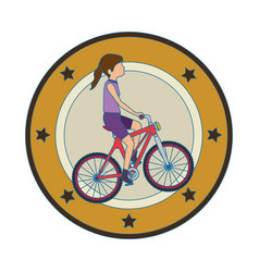 woman cyclist riding a bicycle elegant frame vector image vector image