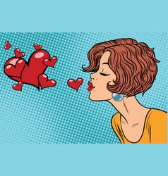 woman making a kiss heart vector image vector image