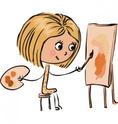 cartoon girl artist vector image vector image