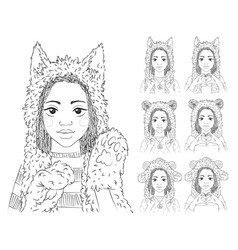 Cute girl with african braids in different animal vector