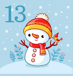 cute snowman stands in a snowy glade vector image