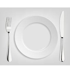 Empty plate with knife and fork vector image vector image