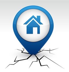 Home blue icon in crack vector image