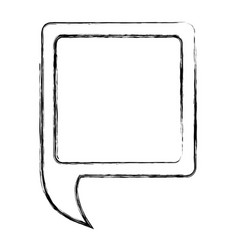 monochrome sketch of square speech with tail to vector image