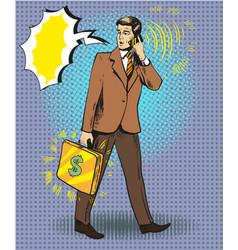 pop art of businessman talking vector image vector image