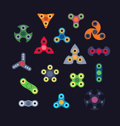 set of various type of spinners flat style vector image