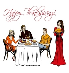 Thanksgiving dinner isolated vector image