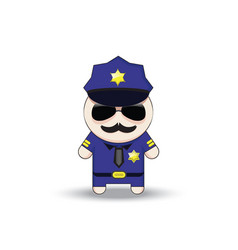 funny cop with sunglasses and mustache police vector image
