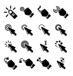 hand click icons set simple style vector image
