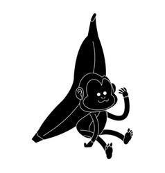 monkey playing with big banana cartoon icon image vector image