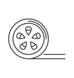 movie reel line icon sign on vector image