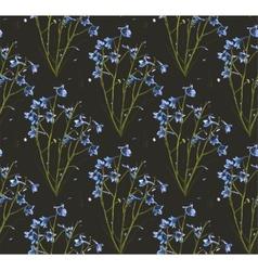 Romantic Wild Flowers on Black Seamless Pattern vector image vector image